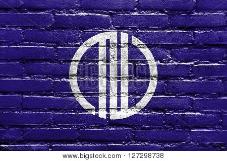 Flag Of Sendai, Japan, Painted On Brick Wall