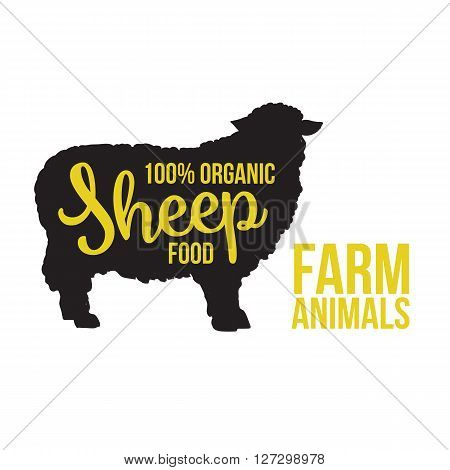 Black contour farm animal with a yellow lettering  inscription inside, Logo sheep vector animal, outline for the product, vector illustration contour farming sheep with lettering on the mutton meat