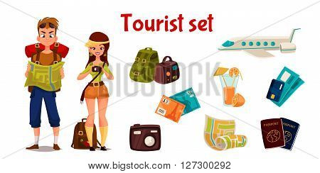 set travel concept summer vacation on the beach, cartoon tourists go hiking in travel between countries, vacation, set of elements of icons, card, ticket, airplane, passport, beach stuff, plane