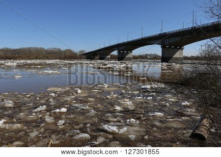 Ice Drift And River In Spring Day