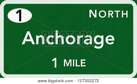 Anchorage Usa Interstate Highway Sign