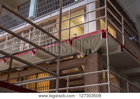 San Francisco, CA, May 13 2015: Alcatraz penitentiary interior row of cells