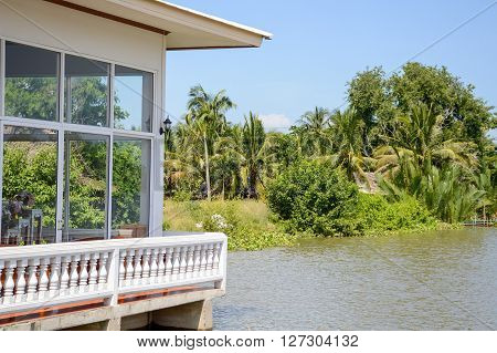close up home waterfront in Chachoengsao Thailand poster