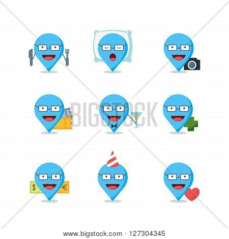 Set of vector travel markers signs and icons. Pin mapping marks with human in different locations. Travel and tourism logo design elements. Creative map waypoints illustration.