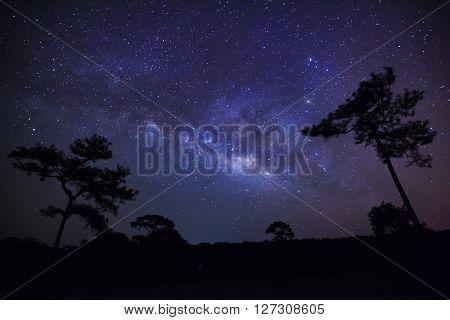 Milky Way At Phu Hin Rong Kla National Park,phitsanulok Thailand,long Exposure Photograph With Grain
