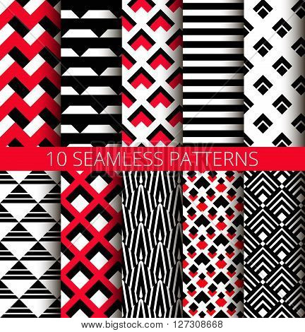 Red, white and black seamless patterns set. Abstract geometric backgrounds for business brochures, website templates. Vector chevron design. 70s motif, graphic art. Isometric triangles and stripes.