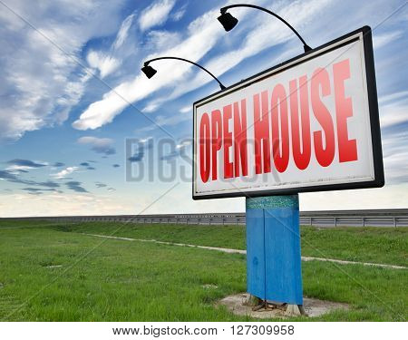 open house for sale or rent, buying or selling real estate