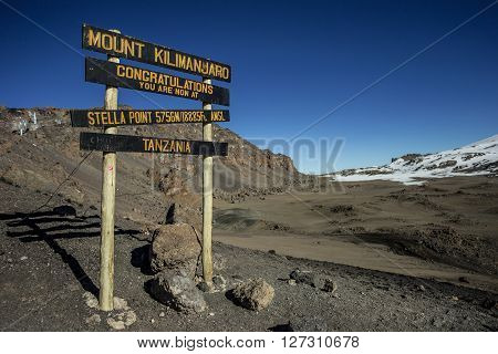 limbing the mount Kilimanjaro Machame route - Stella Point (5756m) - the last milestone before the top