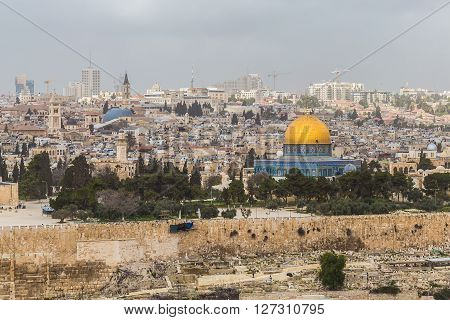 View of the Al-Aqsa Mosque (aka Bayt al-Muqaddas) and the old town of Jerusalem from the Mount of Olives (Jerusalem Israel)
