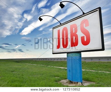 job search vacancy for jobs online job application help wanted hiring now job ad advert advertising road sign billboard