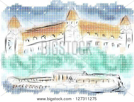 bratislava. abstract illustration of old castle on multicolor background