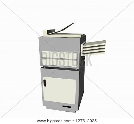 one simple office copier. One white object. White background. 3D rendering, 3D illustration