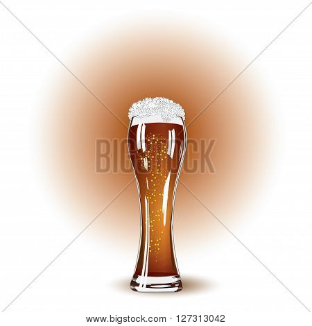 Glass of beer and white foam close up