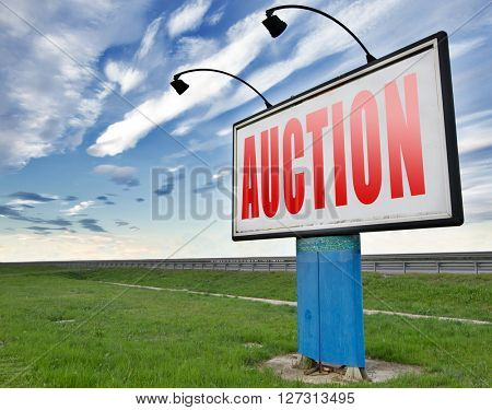 online auction Selling and buying on the internet of products cars houses and real estate.