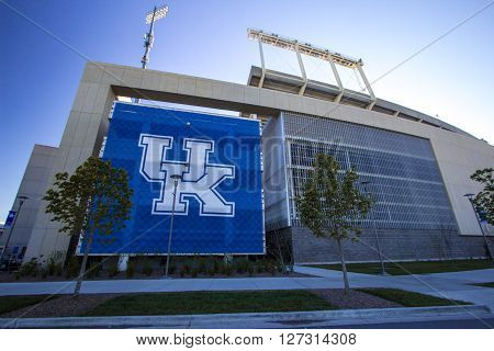 Lexington, Kentucky, USA. April 22, 2016 - The Commonwealth Stadium is the football stadium for the University of Kentucky Wildcats.