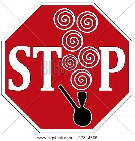 Stop Pot Smoking. Concept sign to ban drugs like smoking marijuana