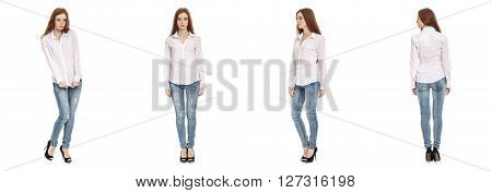 Beautiful model in jeans isolated on white