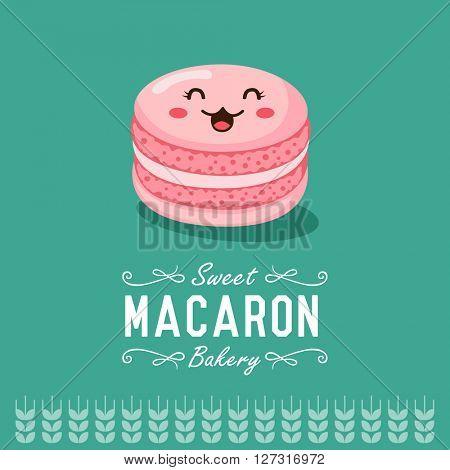Fun cartoon macaron. Bakery and pastry cartoon character. Vector illustration.