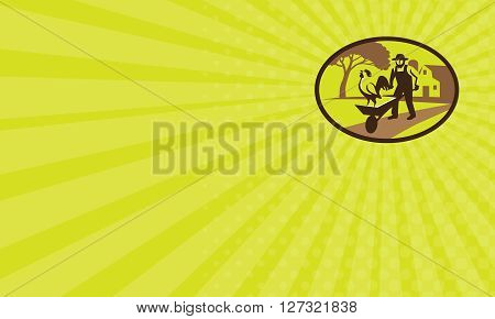 Business card showing illustration of an amish farmer wearing hat holding wheelbarrow with rooster on top set inside oval shape with tree and farmhouse in the background done in retro style.
