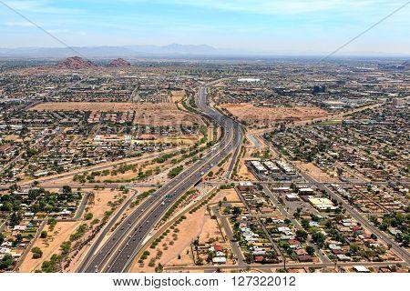 Above the Loop 202 Red Mountain Freeway in Phoenix Arizona looking east