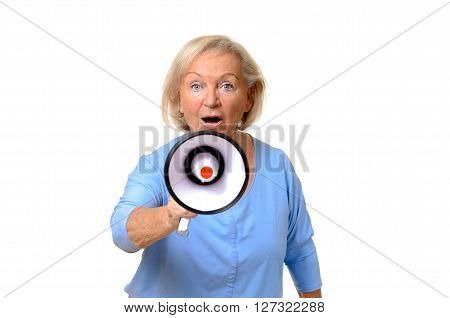 Excited Elderly Woman Speaking Into A Megaphone