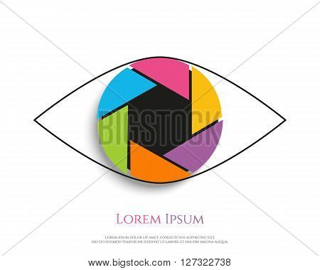 Eye Logo design vector template. Colorful media icon. Shutter aperture. Vector illustration