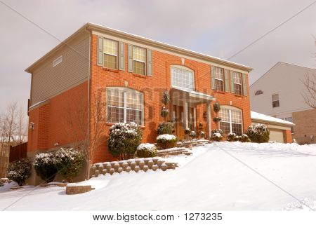Home On The Hillside In Winter