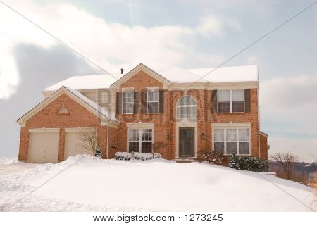 House On A Hill In The Cold Of Winter