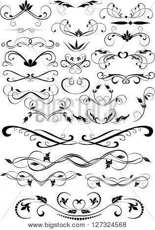 Set of small decorative calligraphic elements for design