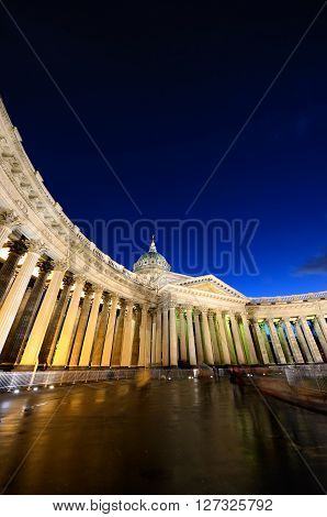 Kazan Cathedral or Kazanskiy Kafedralniy Sobor in Saint Petersburg by night