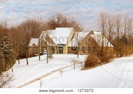 Private Home In The Countryside In Winter