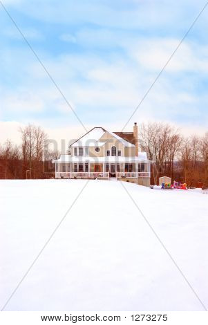 Farmhouse In The Country In Winter