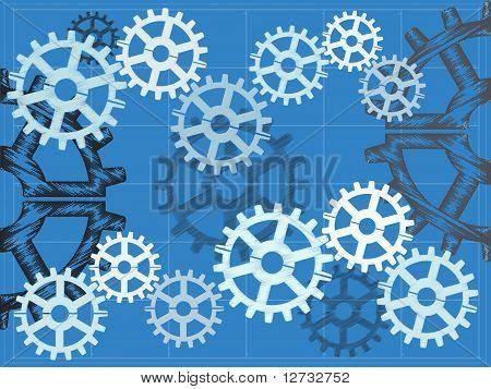 Blueprint Gears Sketchy Grid Vector Illustration Background