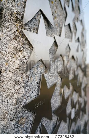 stars with names of donors for the reconstruction of a bridge in Magdeburg