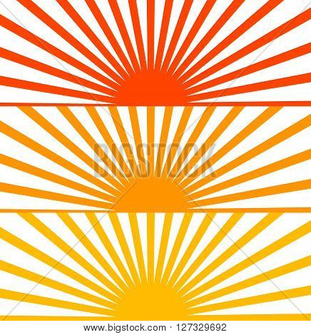 Vector Flat Red set sun sunrise sunset