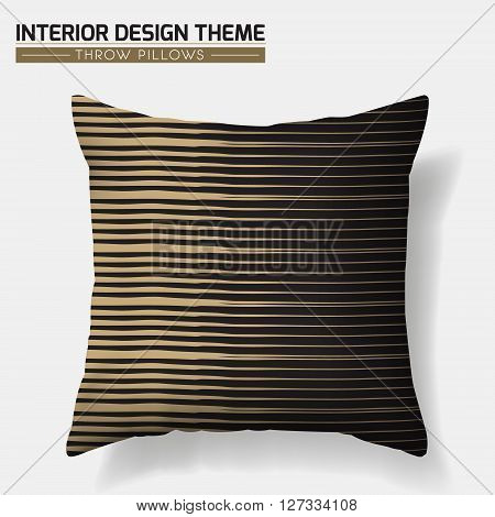 Decorative Geometric Throw Pillow design template. Original Stipe pattern is complete masked. Modern interior design element. Creative Sofa Toss Pillow. Vector design is layered editable