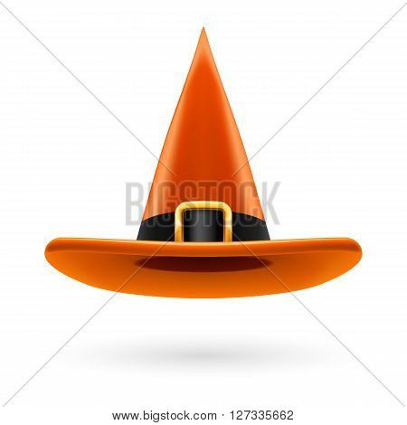 Orange witch hat with golden buckle and hatband