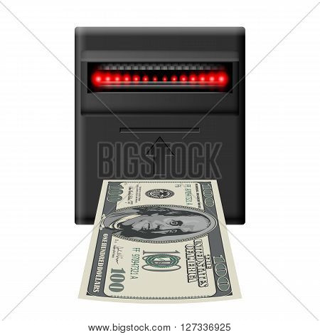 Inserting hundred dollar banknote into terminal cash receiver