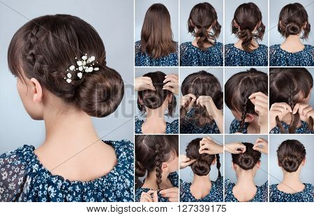romantic braided bun updo with flowers tutorial. Hairstyle for middle hair