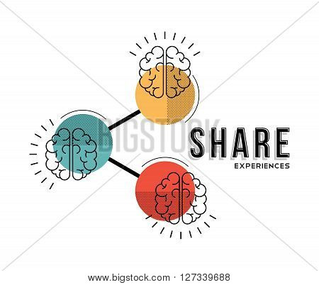 Modern concept illustration of brains. Share experiences knowledge memories and information. EPS10 vector.