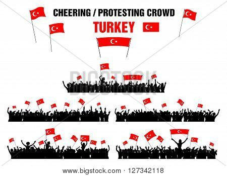 A set of 5 Turkey silhouettes of cheering or protesting crowd of people with Turkish flags and banners.