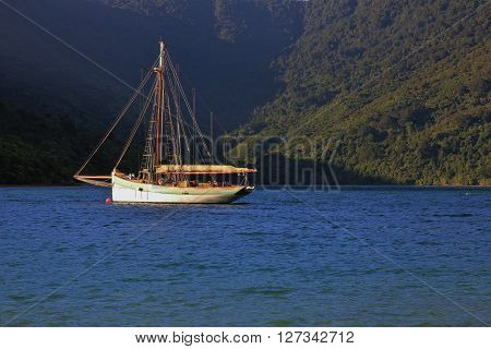 Sailing boat in the Marlborough Sounds. Idyllic scene in New Zealand.