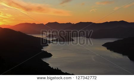 Evening scene in the Marlborough Sounds New Zealand. View from the Queen Charlotte track. Kenepuru Sound.