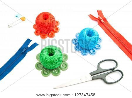Zipper, Scissors, Spools Of Thread And Buttons