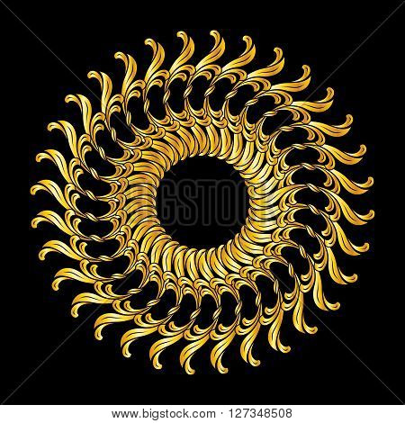 Ornate florid pattern in golden shades on black background
