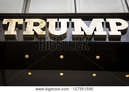 NEW YORK - MAR 27 2016: Close up of the gold facade of Trump Tower, the 68 story skyscraper home to Trump Organization political headquarters, luxury offices and residences, Manhattan, March 27 2016.