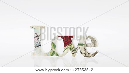 LOVE - home decoration object isolated on white