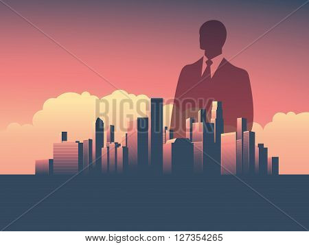 Urban skyline cityscape with businessman standing over. Double exposure vector illustration landscape background. Symbol of corporate world, banks and business tycoons. Eps10 vector illustration.