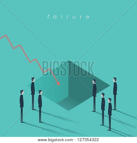Financial crisis symbol with a hole in the ground and graph. Businessman standing around. Sign of bankruptcy and economy fall. Eps10 vector illustration.