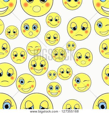 set of emoticons sad happy seamless vector illustration